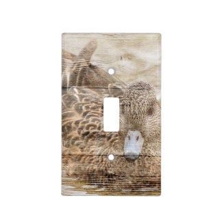 Primitive woodgrain country pond wild duck light switch cover