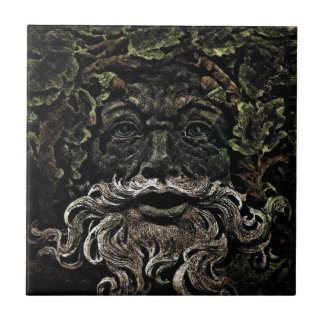 primitive woodland foliage forest god greenman tile