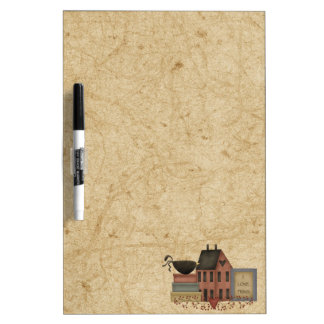 Primitives-Red Saltbox boxes crow I love Prims Dry Erase Whiteboard