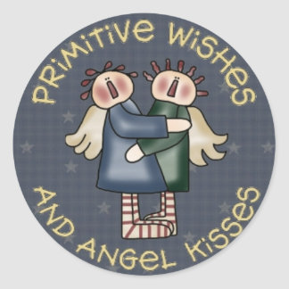 Primive Country Round Angel Stickers