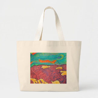 Primordial Peacock Abstract Large Tote Bag