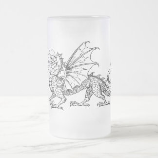 Primping Dragon Frosted Glass Beer Mug