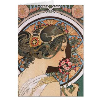 Primrose by Mucha - Vintage Floral Art Nouveau Card