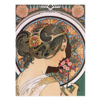Primrose by Mucha - Vintage Floral Art Nouveau Postcard