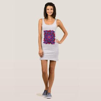 Primrose on heather, geometric sleeveless dress