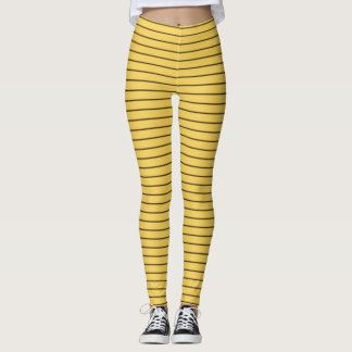 Primrose Yellow and Black Stripes Leggings