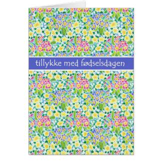 Primroses Birthday Card, Danish Greeting Card