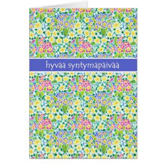 Primroses Birthday Card, Finnish Greeting Card