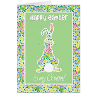 Primroses Cute Bunny Rabbit Easter for Cousin Card