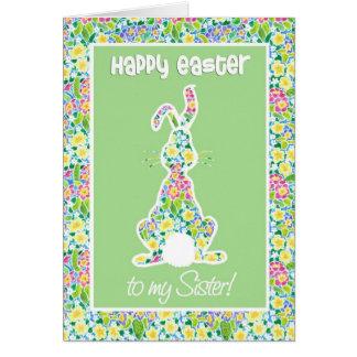 Primroses Cute Bunny Rabbit Easter, for Sister Card
