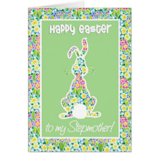 Primroses Cute Bunny Rabbit Easter for Stepmother Card