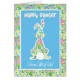Primroses Cute Bunny Rabbit Easter From All of Us Card