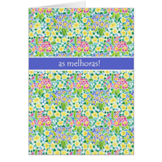 Primroses Get Well Card, Portuguese Greeting Card