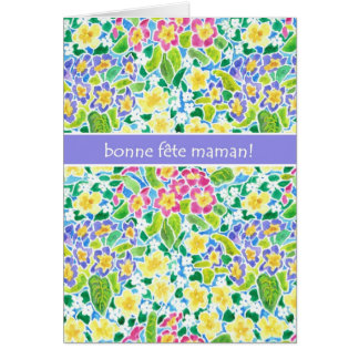 Primroses Mother's Day Card, French Greeting Card