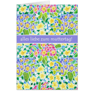 Primroses Mother's Day Card, German Greeting Card