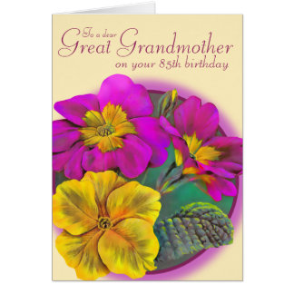 Primula great Grandmother 85 yellow birthday card