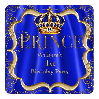 "Prince 1st Birthday Boy Royal Blue Gold Crown B 5.25"" Square Invitation Card"