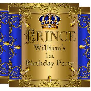 Prince 1st Birthday Boy Royal Blue Gold Crown Card