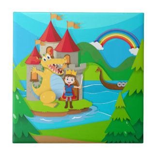Prince and dragon in the fairy land tiles