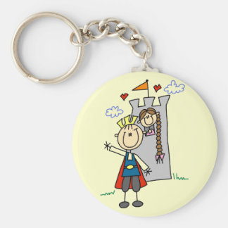 Prince and Girl in Tower Tshirts and Gifts Keychain