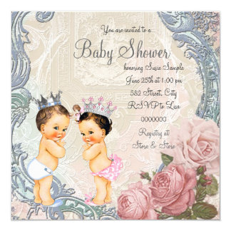 "Prince and Princess Twin Baby Shower 5.25"" Square Invitation Card"