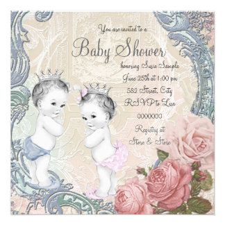 Prince and Princess Twin Baby Shower Invitation