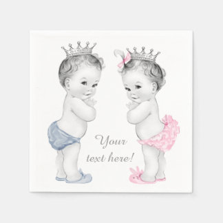 Prince and Princess Twin Baby Shower Paper Napkin