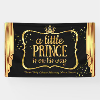 Prince Baby Shower Black Gold Crown Drapes Banner
