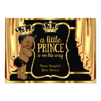 Prince Baby Shower Black Gold Drapes Ethnic Card
