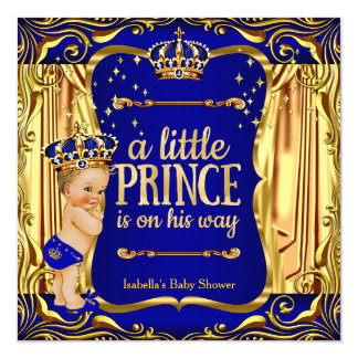 Prince Baby Shower Blue Gold Blonde Invite
