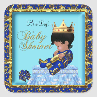 Prince Baby Shower Blue Gold Boy Square Sticker