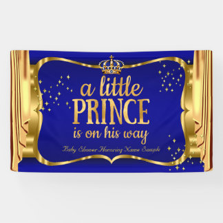 Prince Baby Shower Blue Gold Crown Drapes Banner