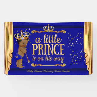 Prince Baby Shower Blue Gold Drapes Ethnic Banner