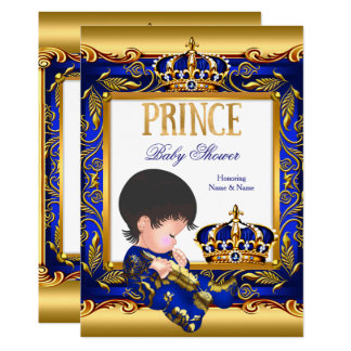 Prince Baby Shower Blue Gold Foil Card