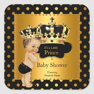 Prince Baby Shower Boy Black Gold Brunette Square Sticker