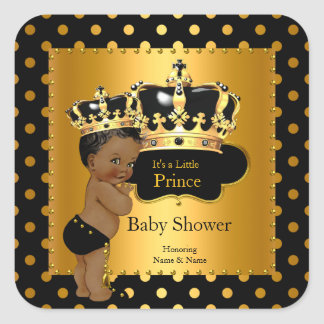 Prince Baby Shower Boy Black Gold Ethnic Square Sticker