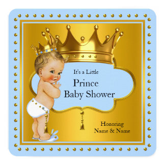 """Prince Baby Shower Boy Blue Gold Crown Blonde 5.25"""" Square Invitation Card"""