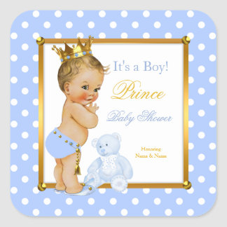 Prince Baby Shower Boy Blue Polka Dot Blonde Square Sticker