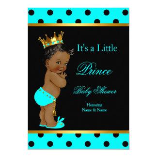 Prince Baby Shower Boy Teal Black Ethnic Card