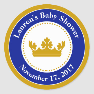 Prince Baby Shower Favor Stickers Blue Boy