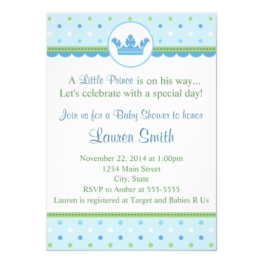 Prince Baby Shower Invitation Blue 5x7 Card