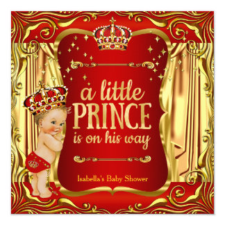 Prince Baby Shower Red Gold Boy Blonde Invite