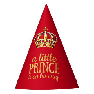 Prince Baby Shower Red Gold Crown Party Party Hat