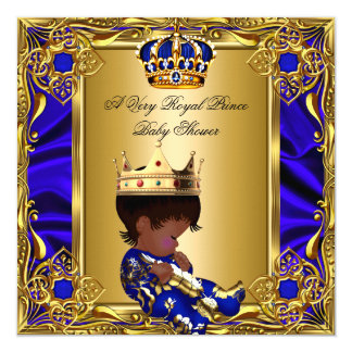 "Prince Baby Shower Regal Gold Royal Blue Boy A 5.25"" Square Invitation Card"
