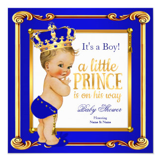 "Prince Baby Shower Royal Blue Gold Blonde Boy 5.25"" Square Invitation Card"