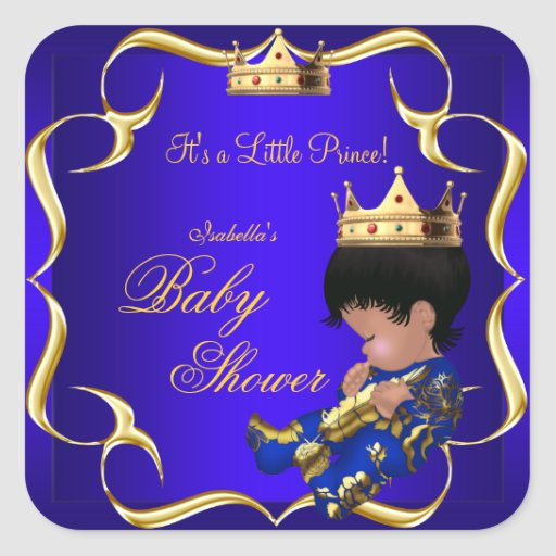 Prince Baby Shower Royal Blue Gold Boy Crown 3 Stickers