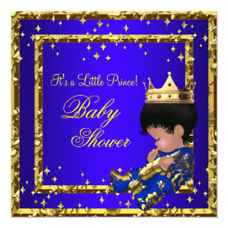 "Prince Baby Shower Royal Blue Gold Boy crown Stars 5.25"" Square Invitation Card"