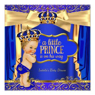 "Prince Baby Shower Royal Blue Gold Drapes Blonde 5.25"" Square Invitation Card"