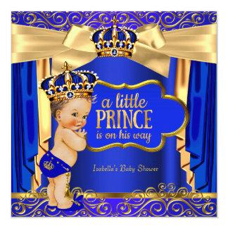 "Prince Baby Shower Royal Blue Gold Drapes Brunette 5.25"" Square Invitation Card"