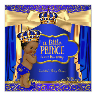 """Prince Baby Shower Royal Blue Gold Drapes Ethnic 5.25"""" Square Invitation Card"""